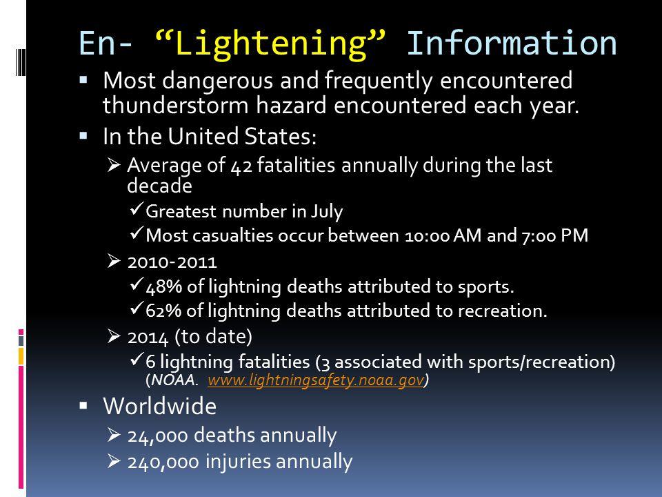 NOAA Statistics http://www.lightningsafety.noaa.gov/resources/RecentLightningDeaths.pdf Lightning Fatalities by Activity Lightning Fatalities by Sport