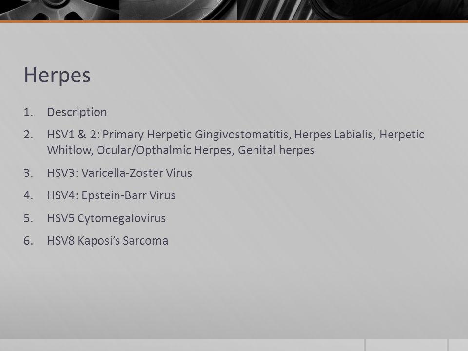 Herpes 1.Description 2.HSV1 & 2: Primary Herpetic Gingivostomatitis, Herpes Labialis, Herpetic Whitlow, Ocular/Opthalmic Herpes, Genital herpes 3.HSV3: Varicella-Zoster Virus 4.HSV4: Epstein-Barr Virus 5.HSV5 Cytomegalovirus 6.HSV8 Kaposi's Sarcoma