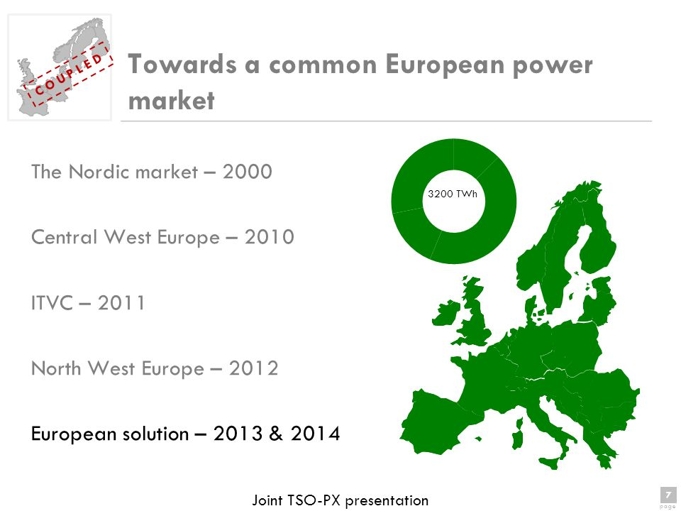 7 page 7 C O U P L E D Joint TSO-PX presentation Towards a common European power market The Nordic market – 2000 Central West Europe – 2010 ITVC – 2011 North West Europe – 2012 European solution – 2013 & 2014 3200 TWh