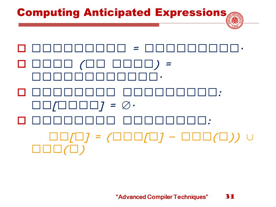 Advanced Compiler Techniques Computing Anticipated Expressions  Direction = backwards.
