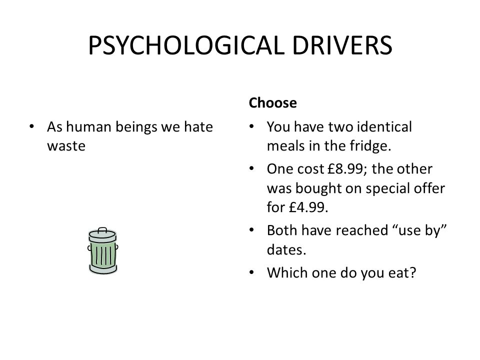 PSYCHOLOGICAL DRIVERS As human beings we hate waste Choose You have two identical meals in the fridge.