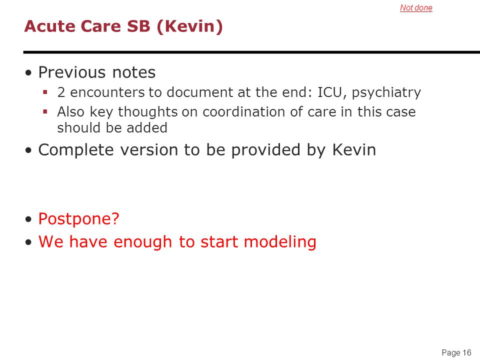 Page 16 Acute Care SB (Kevin) Previous notes  2 encounters to document at the end: ICU, psychiatry  Also key thoughts on coordination of care in this case should be added Complete version to be provided by Kevin Postpone.