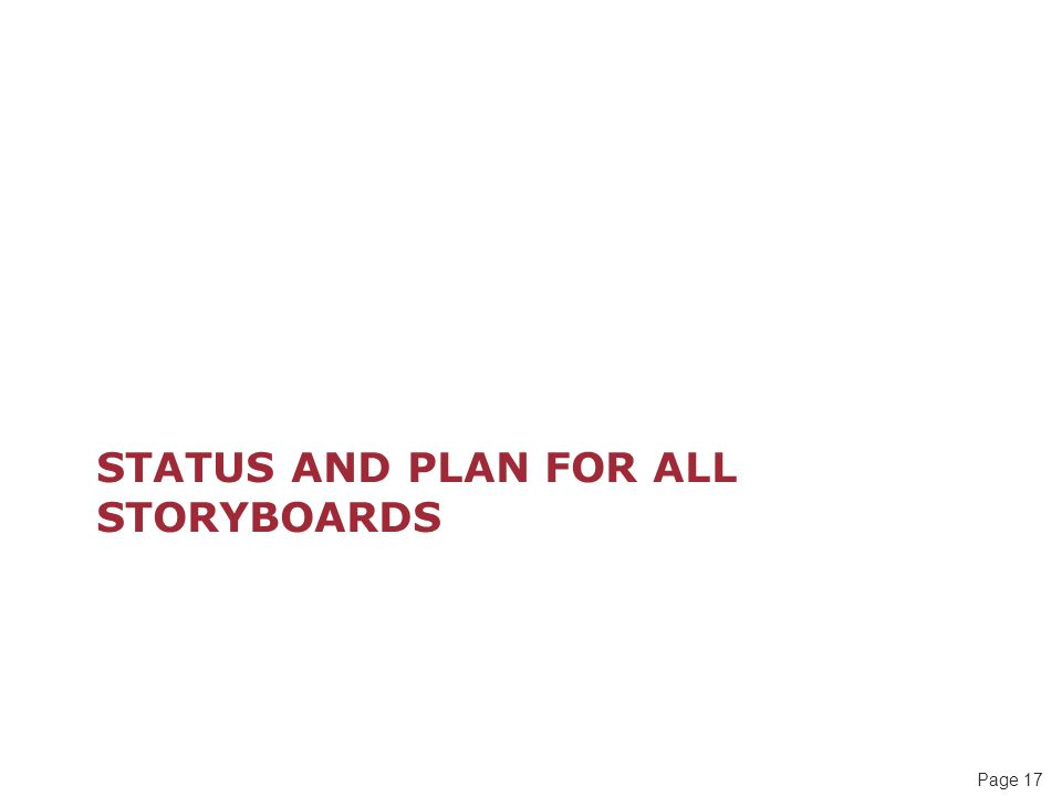 Page 17 STATUS AND PLAN FOR ALL STORYBOARDS