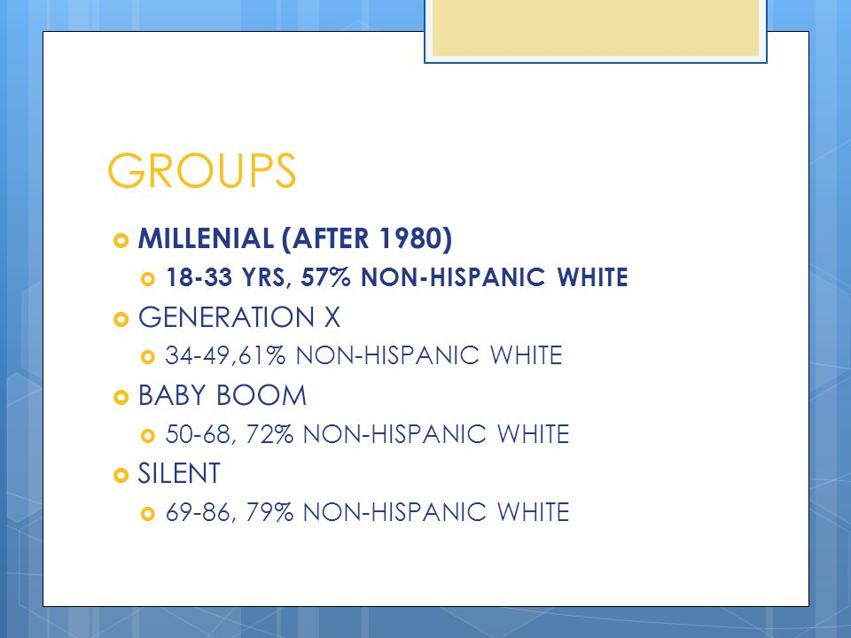 GROUPS  MILLENIAL (AFTER 1980)  18-33 YRS, 57% NON-HISPANIC WHITE  GENERATION X  34-49,61% NON-HISPANIC WHITE  BABY BOOM  50-68, 72% NON-HISPANI