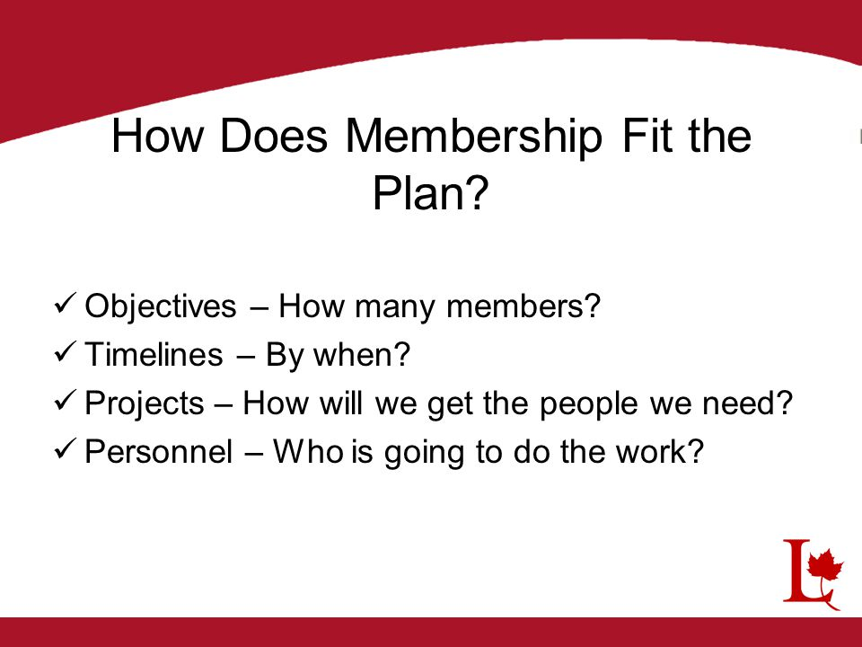 How Does Membership Fit the Plan? Objectives – How many members? Timelines – By when? Projects – How will we get the people we need? Personnel – Who i