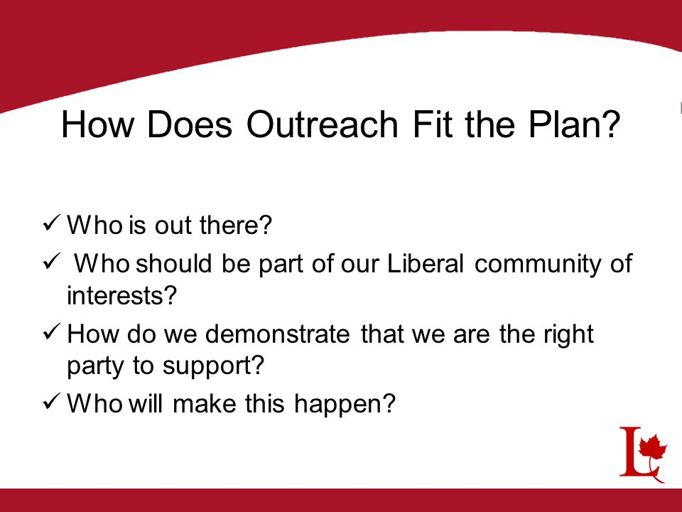 How Does Outreach Fit the Plan? Who is out there? Who should be part of our Liberal community of interests? How do we demonstrate that we are the righ