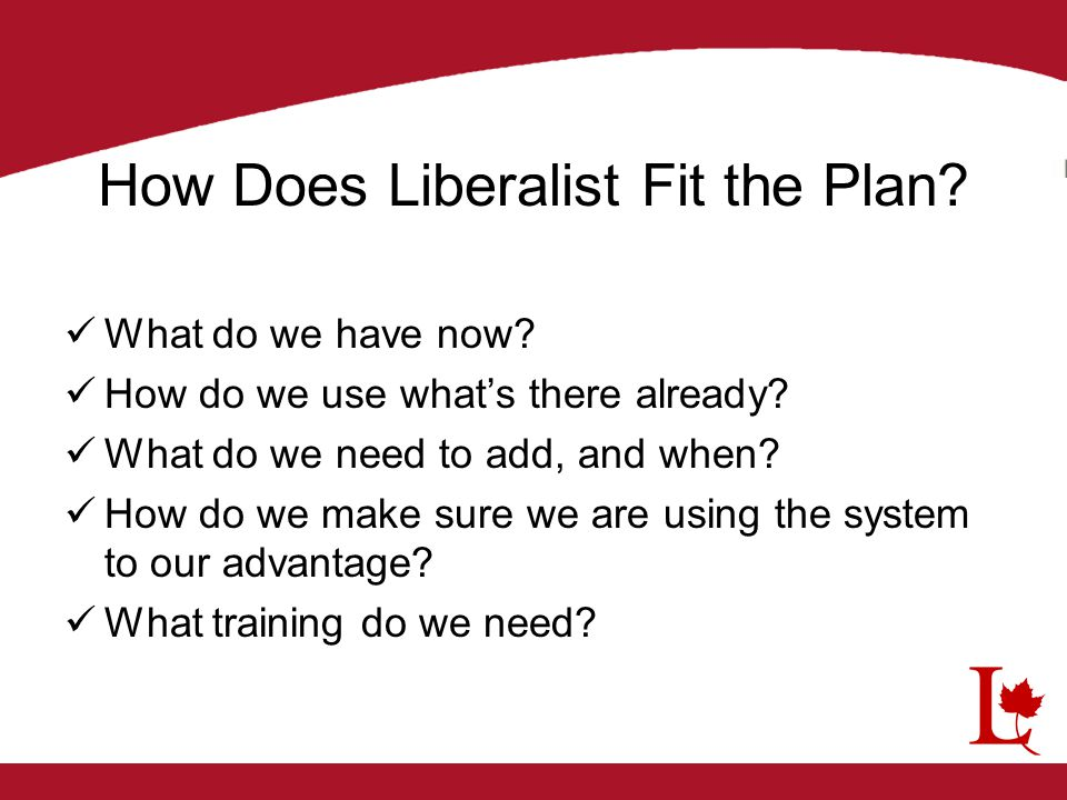 How Does Liberalist Fit the Plan? What do we have now? How do we use what's there already? What do we need to add, and when? How do we make sure we ar