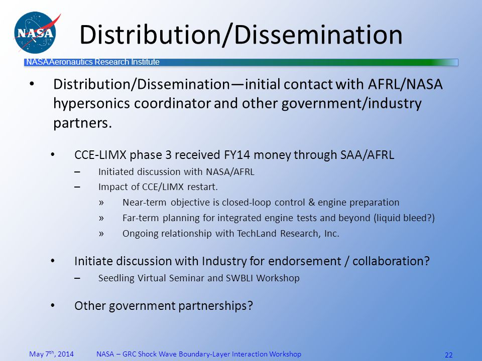 NASA Aeronautics Research Institute Distribution/Dissemination Distribution/Dissemination—initial contact with AFRL/NASA hypersonics coordinator and other government/industry partners.