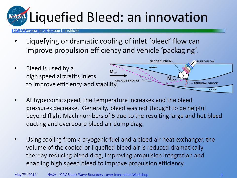 NASA Aeronautics Research Institute Test planning results Heat exchanger sized for the Small Multi-purpose Research Facility, SMiRF Design of key facility hardware complete Two facilities could provide complimentary data SSLB (Small-Scale Liquid-Bleed) Test @ SMiRF – For proof-of-concept of bleed air liquefaction BCT (Bleed Cooling Test) @ 1x1 SWT – To build bleed database at higher Mach numbers and effect bleed air cooling Three requirements packages released to gather cost estimates: (2 tests + LN 2 system for 1x1 SWT) Current Cost ROMs exceeded available funds.