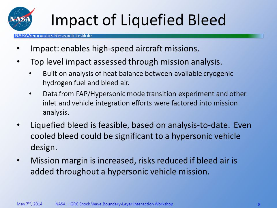 NASA Aeronautics Research Institute Test planning (1x1 SWT) Initial data at Mach 3 useful to anchor bleed modeling tools and eliminate extrapolation.