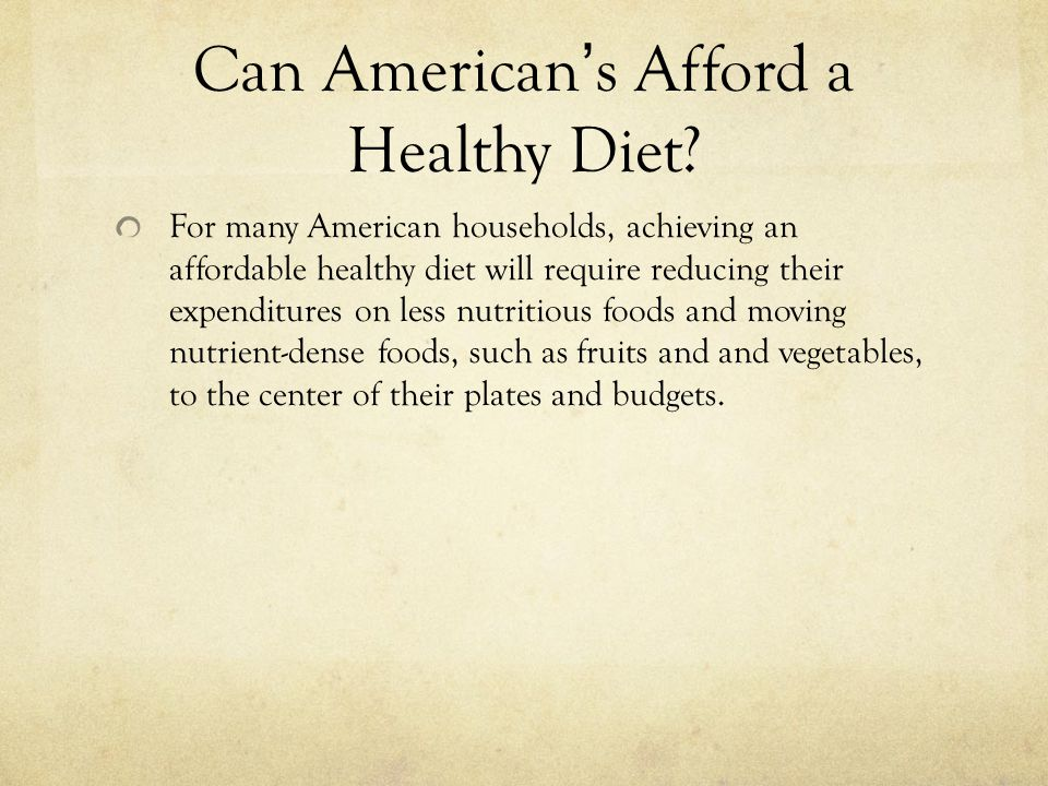Can American's Afford a Healthy Diet.