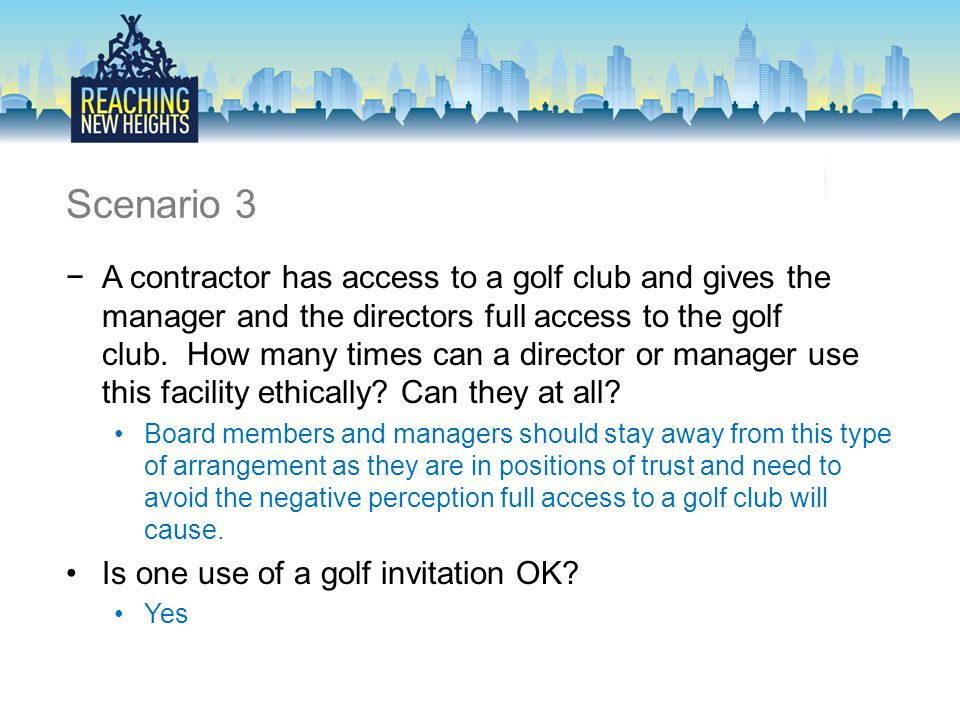 Scenario 3 −A contractor has access to a golf club and gives the manager and the directors full access to the golf club.