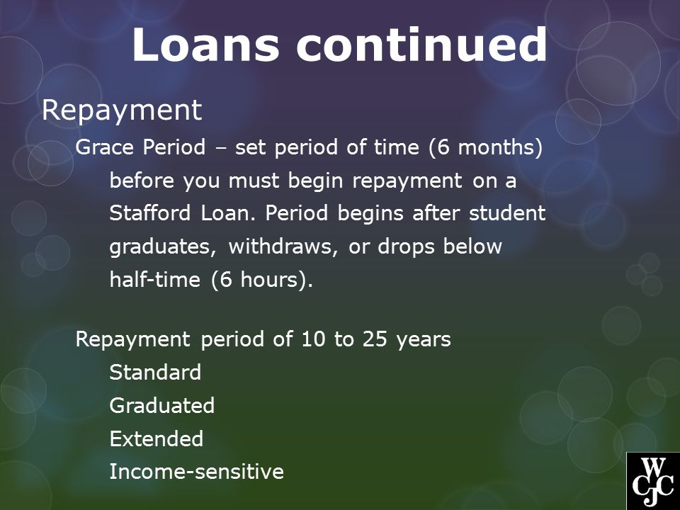 Loans continued Repayment Grace Period – set period of time (6 months) before you must begin repayment on a Stafford Loan. Period begins after student