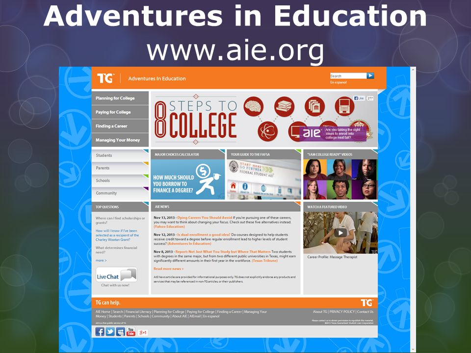 Adventures in Education www.aie.org
