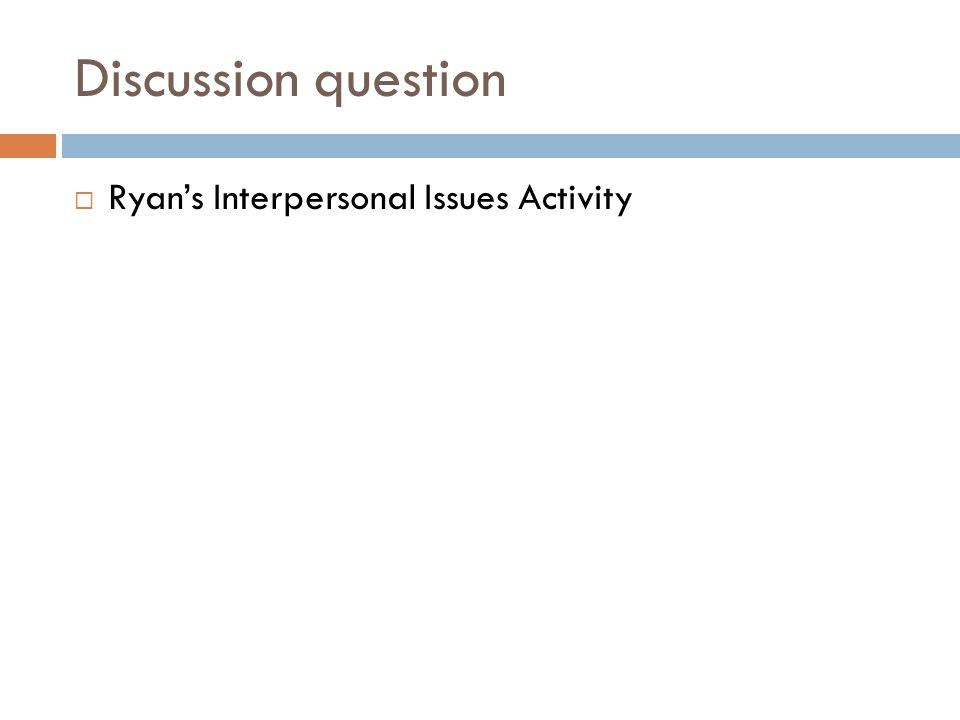 Discussion question  Ryan's Interpersonal Issues Activity