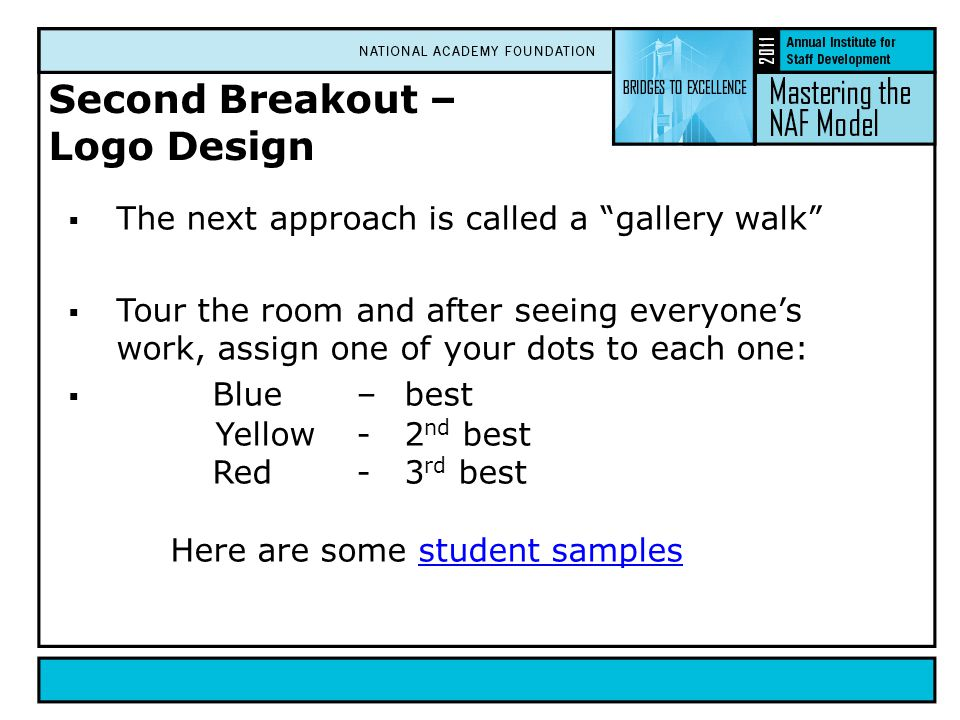 Second Breakout – Logo Design  The next approach is called a gallery walk  Tour the room and after seeing everyone's work, assign one of your dots to each one:  Blue–best Yellow-2 nd best Red-3 rd best Here are some student samplesstudent samples
