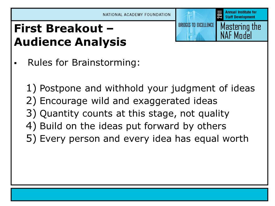 First Breakout – Audience Analysis  Rules for Brainstorming: 1) Postpone and withhold your judgment of ideas 2) Encourage wild and exaggerated ideas 3) Quantity counts at this stage, not quality 4) Build on the ideas put forward by others 5) Every person and every idea has equal worth