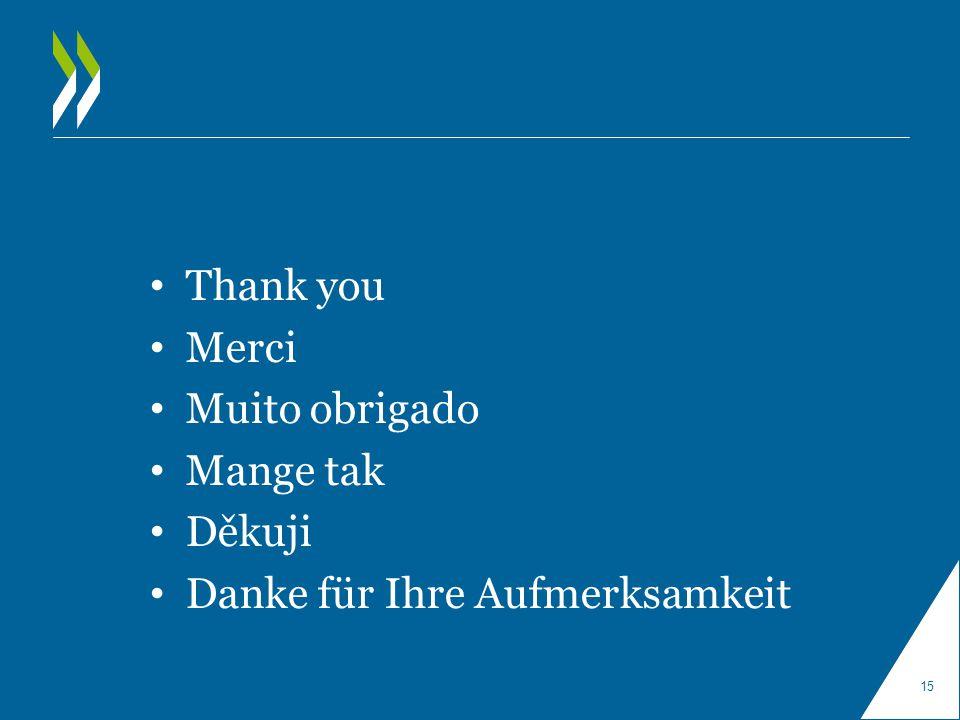 Thank you Merci Muito obrigado Mange tak Děkuji Danke für Ihre Aufmerksamkeit 15