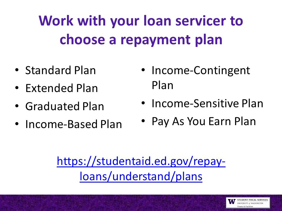 Work with your loan servicer to choose a repayment plan https://studentaid.ed.gov/repay- loans/understand/plans https://studentaid.ed.gov/repay- loans/understand/plans Standard Plan Extended Plan Graduated Plan Income-Based Plan Income-Contingent Plan Income-Sensitive Plan Pay As You Earn Plan