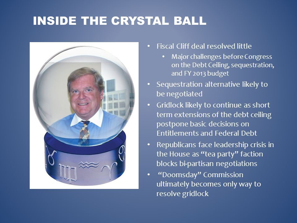 INSIDE THE CRYSTAL BALL Fiscal Cliff deal resolved little Major challenges before Congress on the Debt Ceiling, sequestration, and FY 2013 budget Sequ