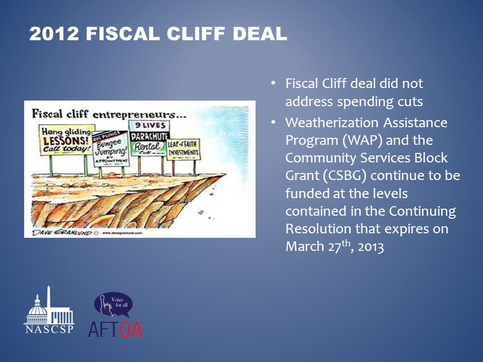 Fiscal Cliff deal did not address spending cuts Weatherization Assistance Program (WAP) and the Community Services Block Grant (CSBG) continue to be f