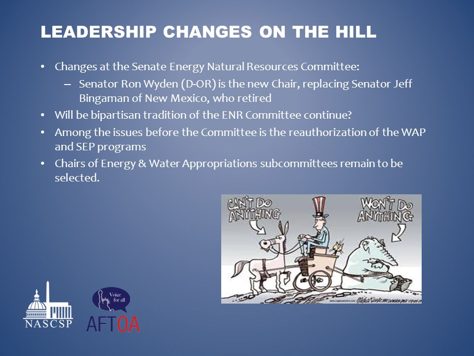 Changes at the Senate Energy Natural Resources Committee: – Senator Ron Wyden (D-OR) is the new Chair, replacing Senator Jeff Bingaman of New Mexico,