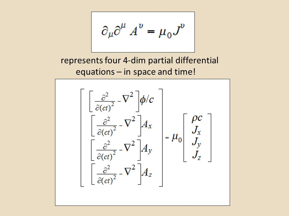 represents four 4-dim partial differential equations – in space and time!
