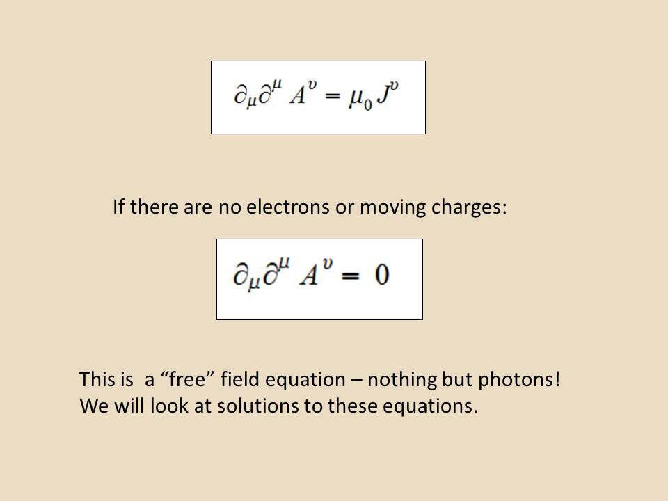 """If there are no electrons or moving charges: This is a """"free"""" field equation – nothing but photons! We will look at solutions to these equations."""