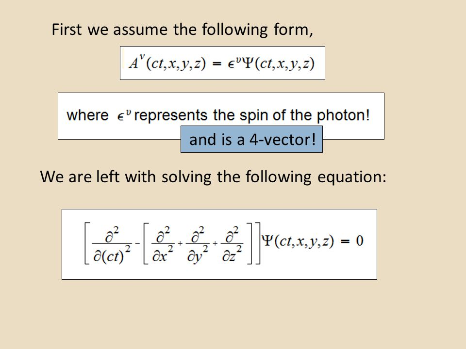 First we assume the following form, We are left with solving the following equation: and is a 4-vector!