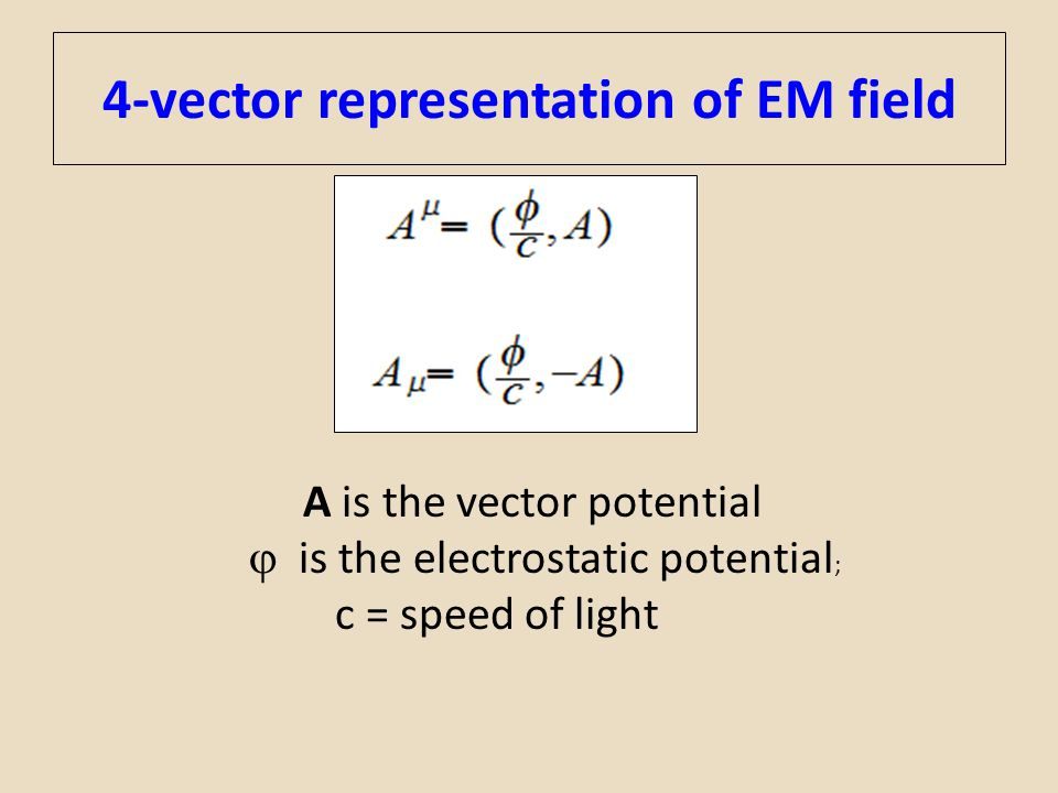 4-vector representation of EM field A is the vector potential  is the electrostatic potential ; c = speed of light