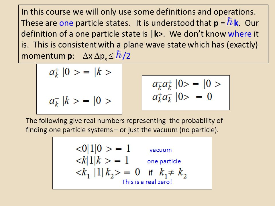 In this course we will only use some definitions and operations. These are one particle states. It is understood that p =  k. Our definition of a one