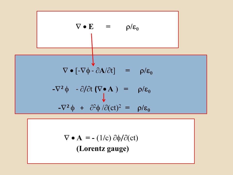   E =  /  0   [ -  -  A/  t] =  /  0 -  2  -  /  t (  A ) =  /  0 -  2  +  2  /  (ct) 2 =  /  0   A = - (1/c)  /  (ct)