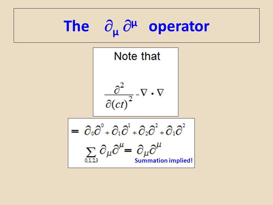 The  µ  µ operator Summation implied!