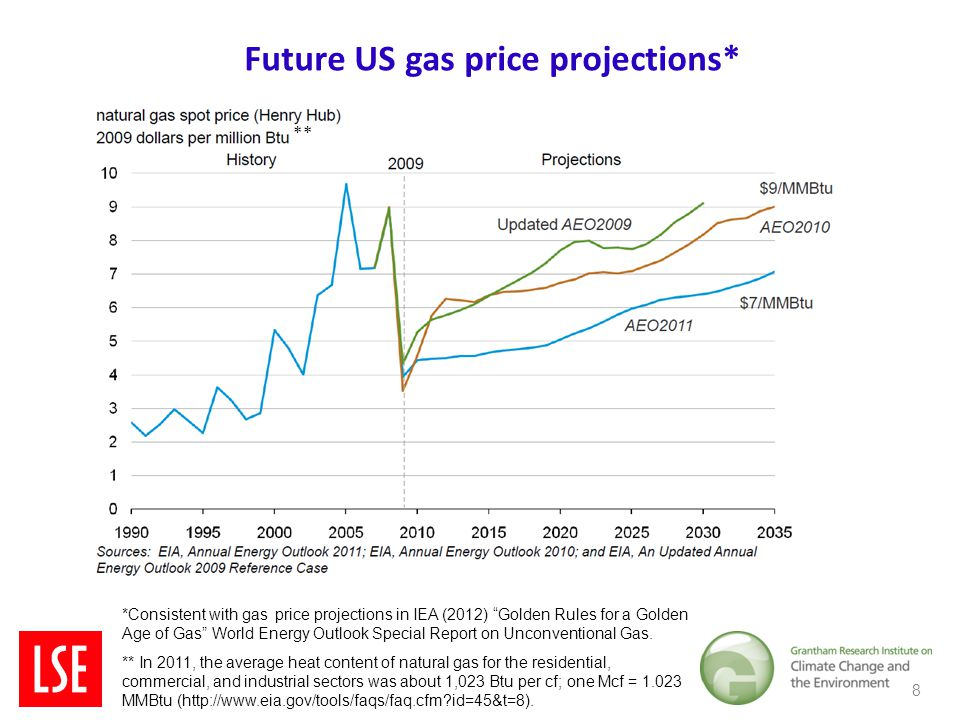 Future US gas price projections* 8 *Consistent with gas price projections in IEA (2012) Golden Rules for a Golden Age of Gas World Energy Outlook Special Report on Unconventional Gas.