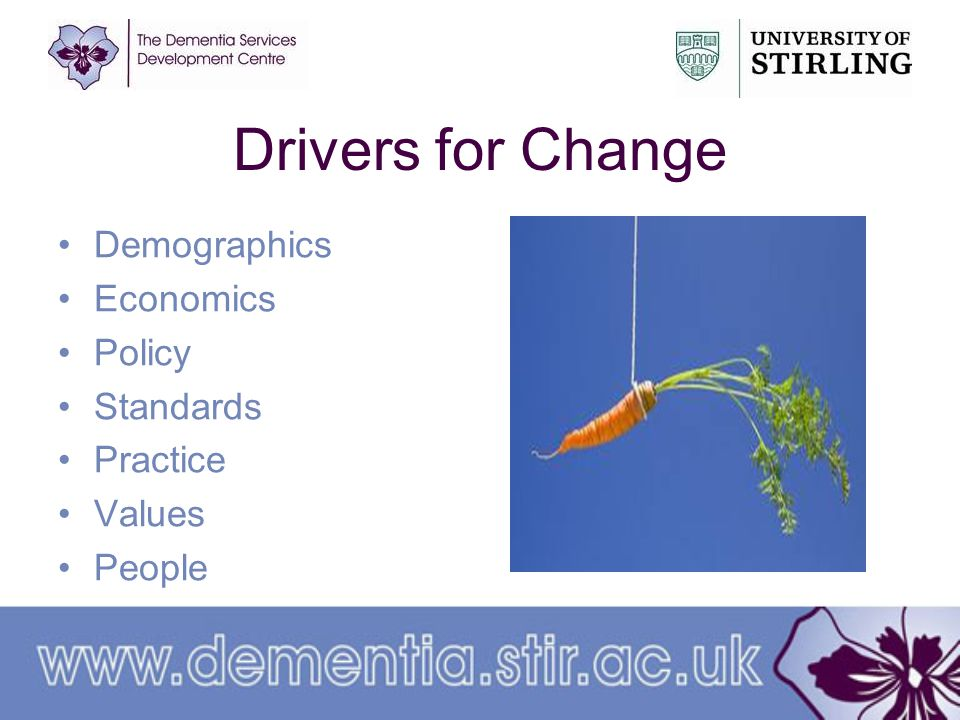 Drivers for Change Demographics Economics Policy Standards Practice Values People