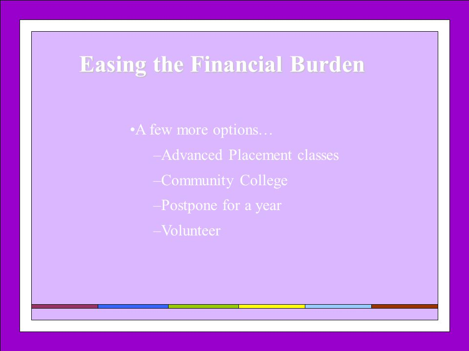 Easing the Financial Burden A few more options… –Advanced Placement classes –Community College –Postpone for a year –Volunteer