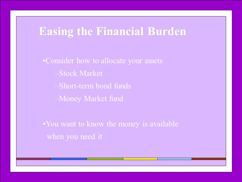 Easing the Financial Burden Consider how to allocate your assets –Stock Market –Short-term bond funds –Money Market fund You want to know the money is