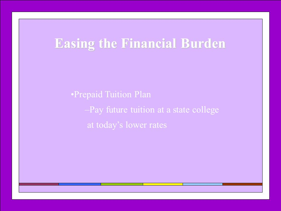 Easing the Financial Burden Prepaid Tuition Plan –Pay future tuition at a state college at today's lower rates