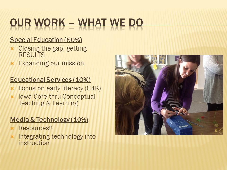 Special Education (80%)  Closing the gap; getting RESULTS  Expanding our mission Educational Services (10%)  Focus on early literacy (C4K)  Iowa Core thru Conceptual Teaching & Learning Media & Technology (10%)  Resources!.