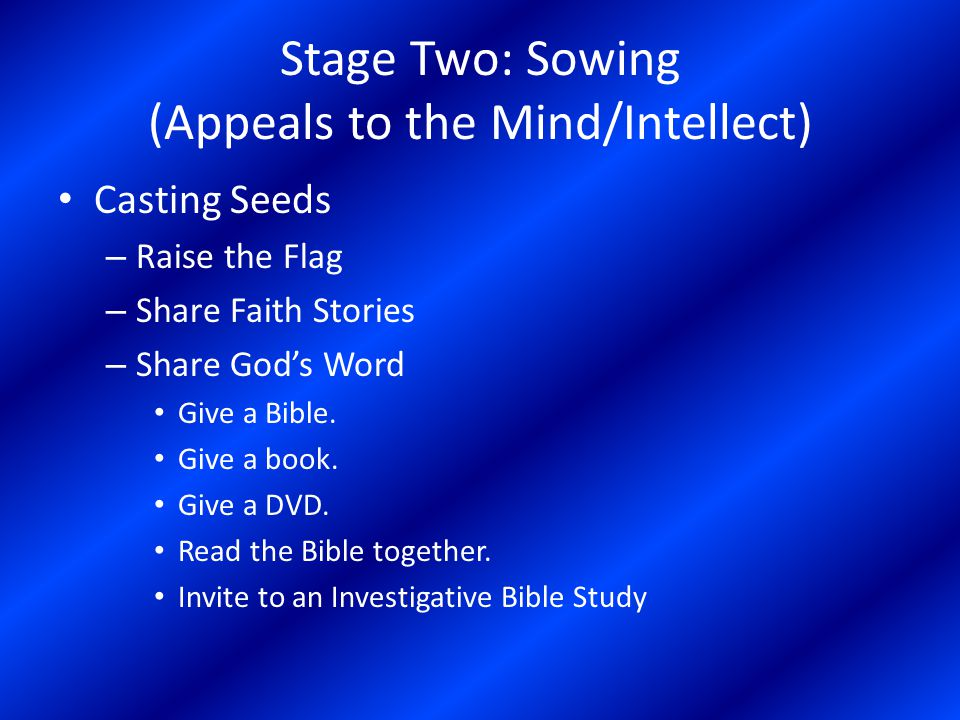 Stage Two: Sowing (Appeals to the Mind/Intellect) Growing Seedlings – Allow time for the seed to germinate and grow.