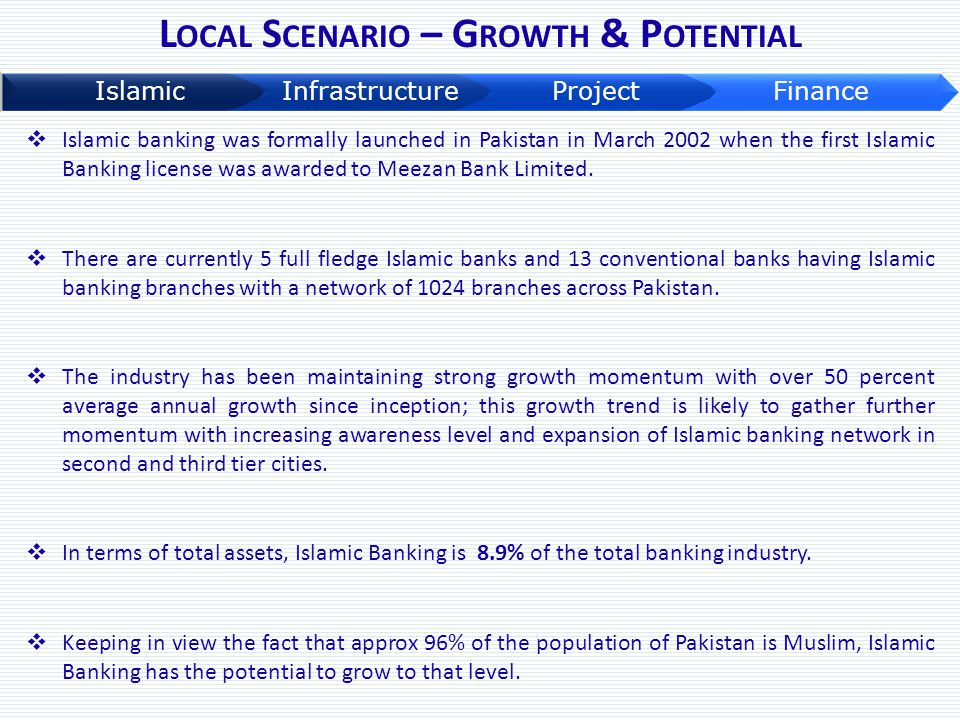 L OCAL S CENARIO – G ROWTH & P OTENTIAL  Islamic banking was formally launched in Pakistan in March 2002 when the first Islamic Banking license was a