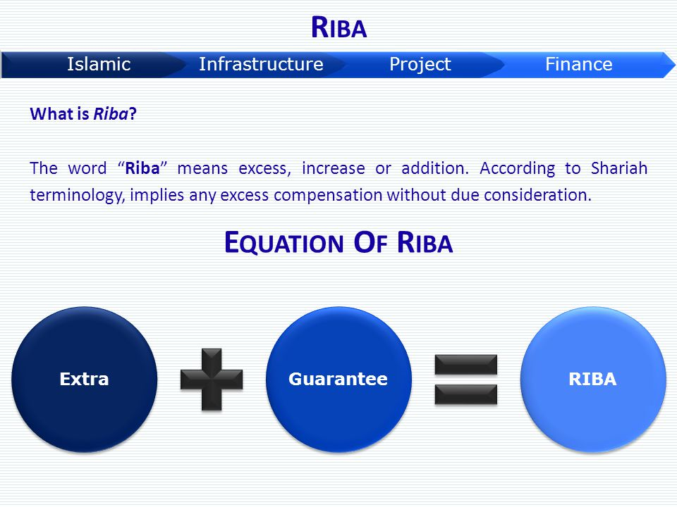 """What is Riba? The word """"Riba"""" means excess, increase or addition. According to Shariah terminology, implies any excess compensation without due consid"""