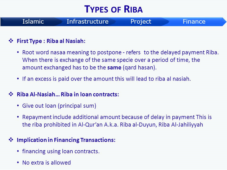 T YPES OF R IBA  First Type : Riba al Nasiah: Root word nasaa meaning to postpone - refers to the delayed payment Riba. When there is exchange of the