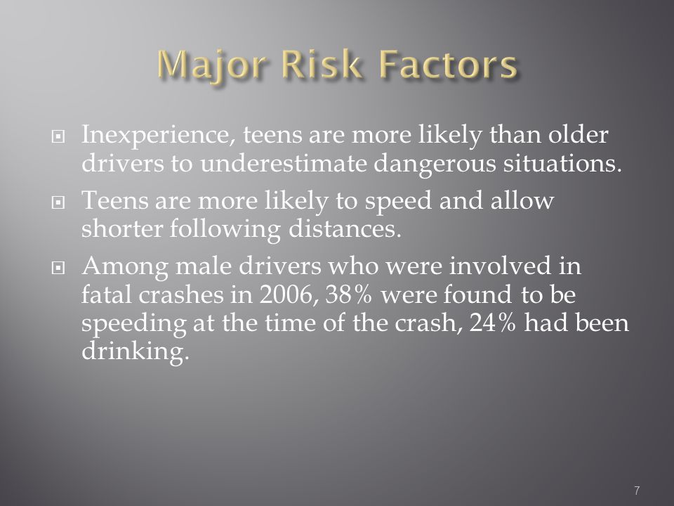  Inexperience, teens are more likely than older drivers to underestimate dangerous situations.