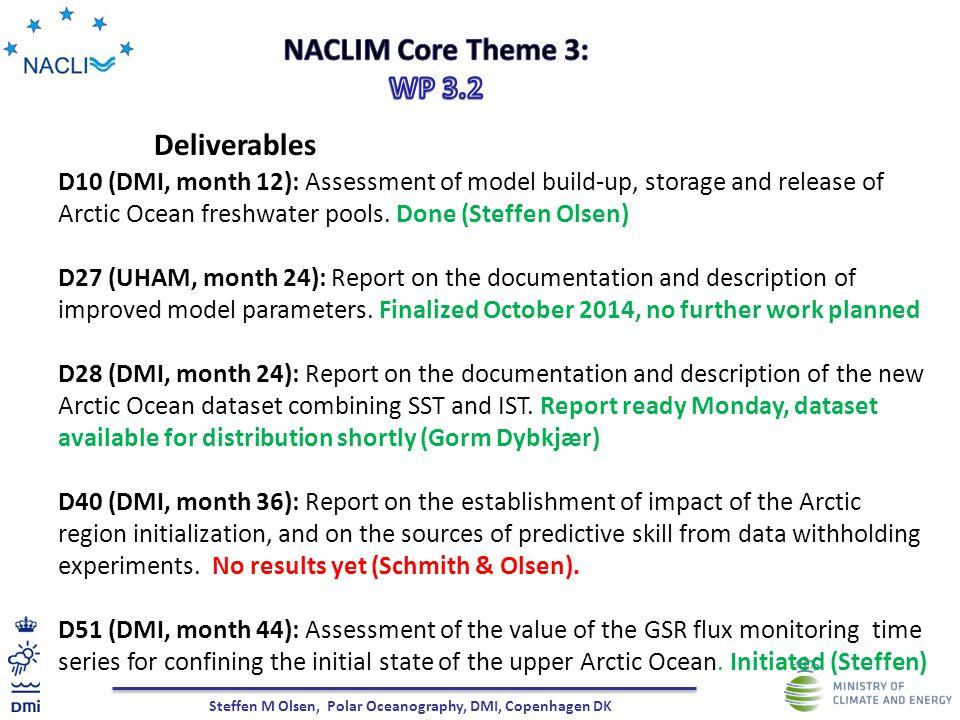 Steffen M Olsen, Polar Oceanography, DMI, Copenhagen DK Deliverables D10 (DMI, month 12): Assessment of model build-up, storage and release of Arctic Ocean freshwater pools.