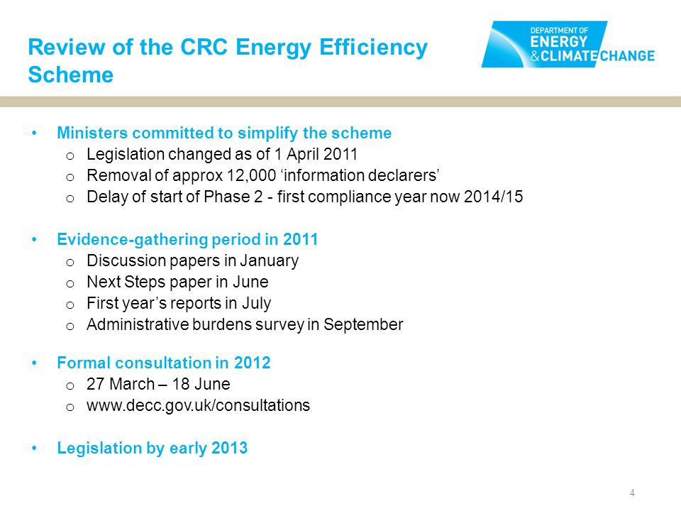 5 The objective of CRC simplification is to: Optimise the projected energy and carbon savings delivered by the CRC scheme; Dramatically reduce the complexity, so the energy efficiency and carbon savings are delivered at the minimum administrative cost. This consultation is about knowing whether we will achieve our aim.