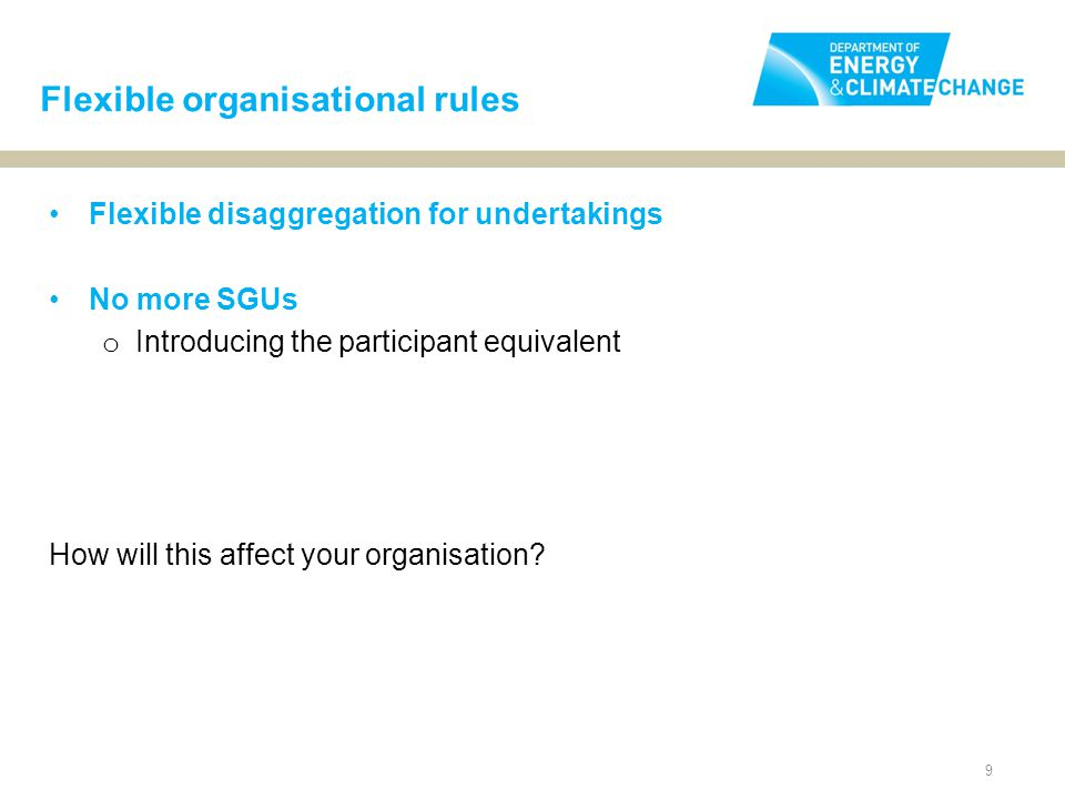9 Flexible disaggregation for undertakings No more SGUs o Introducing the participant equivalent How will this affect your organisation.