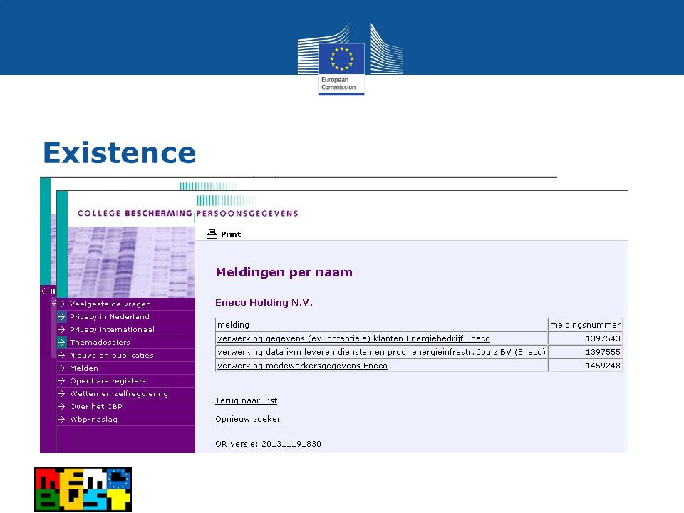 Existence Data protection act Organisation registers data under DPA