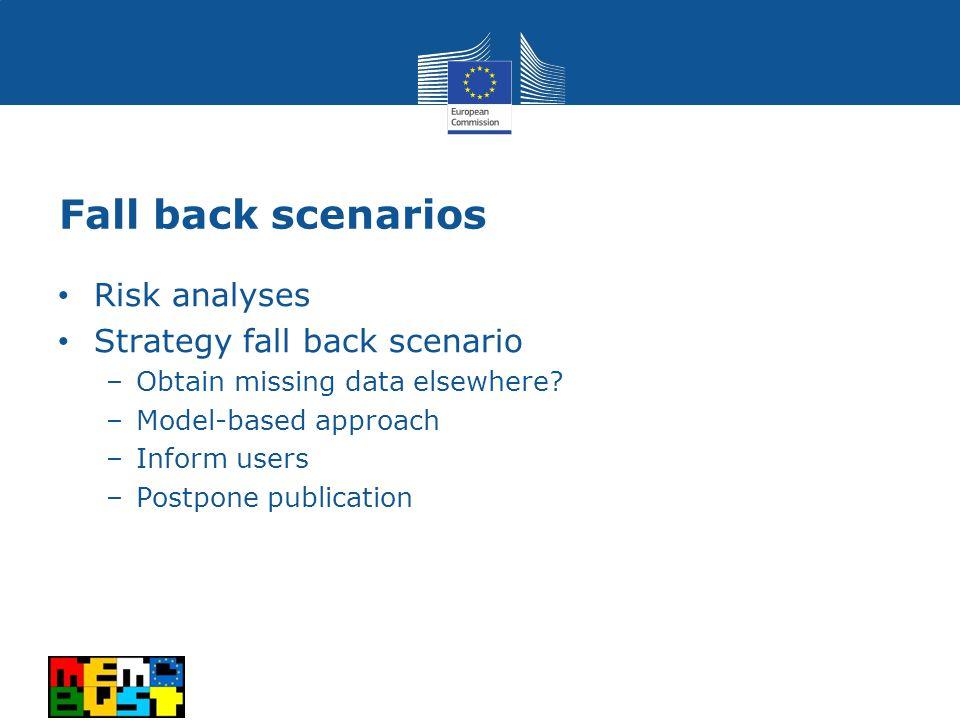 Fall back scenarios Risk analyses Strategy fall back scenario –Obtain missing data elsewhere.