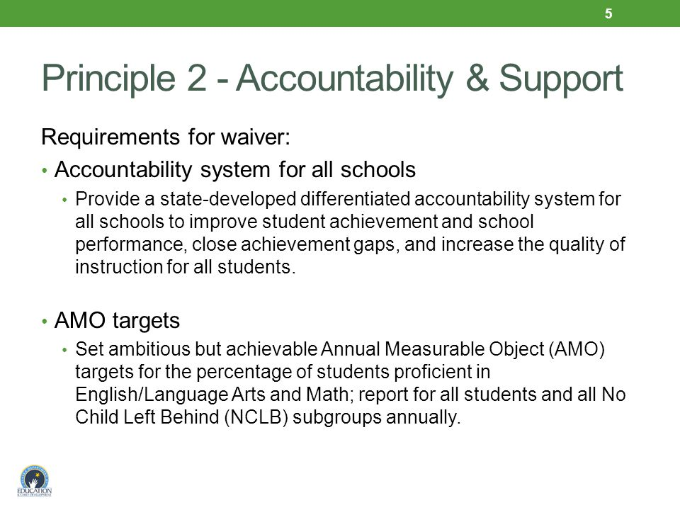 Principle 2 - Accountability & Support Requirements for waiver: Accountability system for all schools Provide a state-developed differentiated accountability system for all schools to improve student achievement and school performance, close achievement gaps, and increase the quality of instruction for all students.